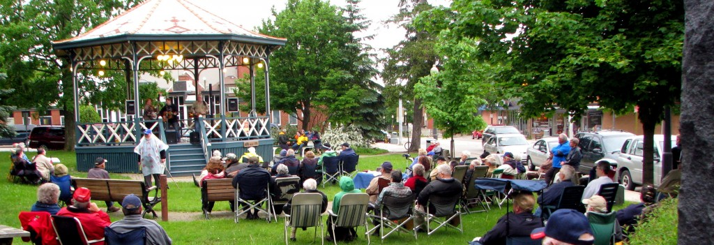 The audience spreads out around the Gazebo where the band performs