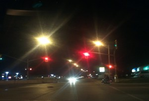 Streetscape at night with lights