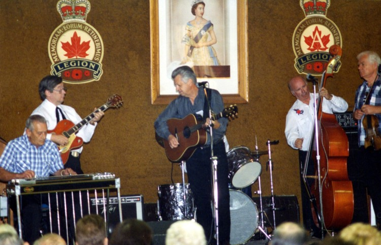 Lloyd Bank, Ron Coulthard, Larry Mercey, Lynn Russwurm and Victor Pasowisty performing at the first CKNX Barndance Historical Society annual general meeting